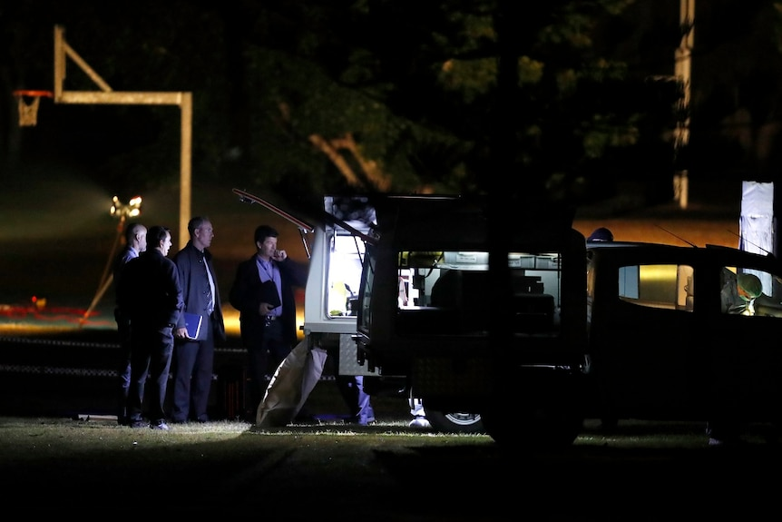 Detectives stand around a police car at the park at night.