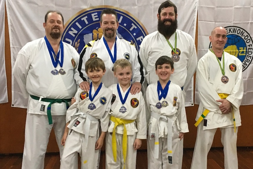 Students and their medals from the international General Choi Memorial Virtual Tai Kwon Do Freestyle Championships