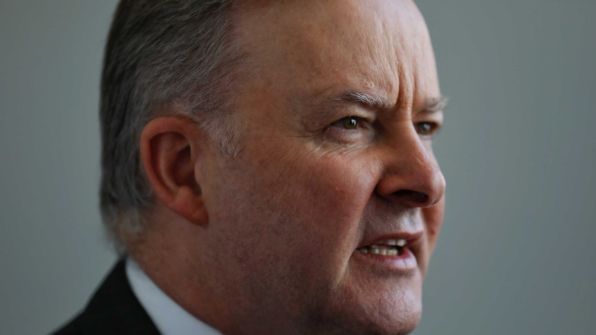 Close up of Mr Albanese's face as he is mid sentence. He's wearing a suit, and looking right of frame.
