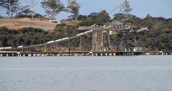 Triabunna wharf on Tasmania's east coast