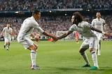 Cristiano Ronaldo and Marcelo celebrate