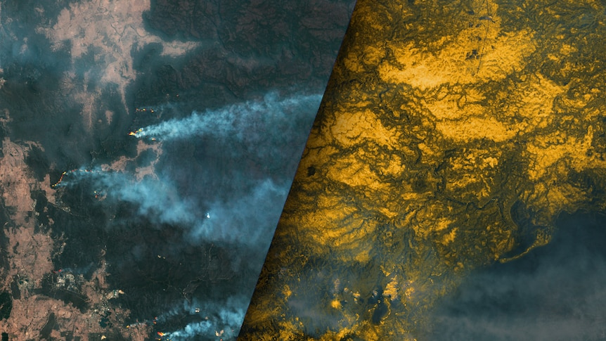 A composite image shows the Gospers Mountain bushfire burning and damage from the fire picked out in yellow.