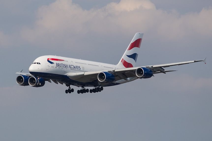 A A380 passenger plane with British Airways branding.