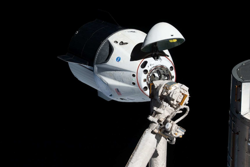 SpaceX Demo-1 capsule docked with the International Space Station