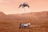 Artist's impression of Perseverance landing on Mars