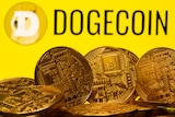 A yellow illustration of dogecoin.