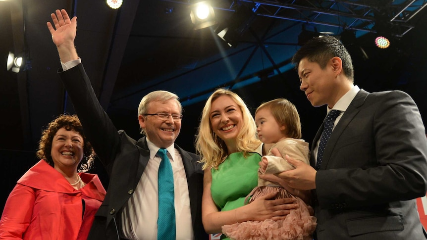 Kevin Rudd with wife Therese Rein and family at the Labor Party launch