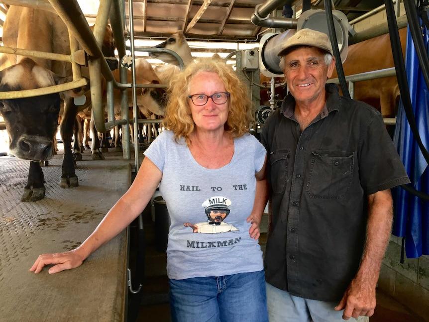 Debra and Jim Allard in the dairy.