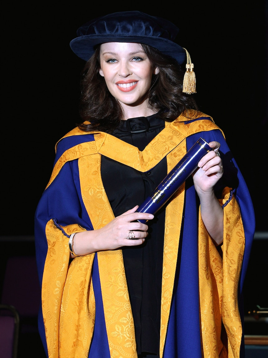 Really gorgeous honour: Kylie Minogue receives her honorary degree.