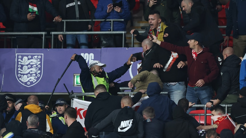 A police office swinging his baton at a fan during a World Cup qualifier soccer match