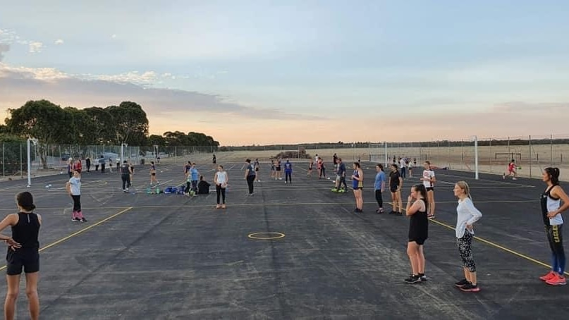 Netball training on the new courts