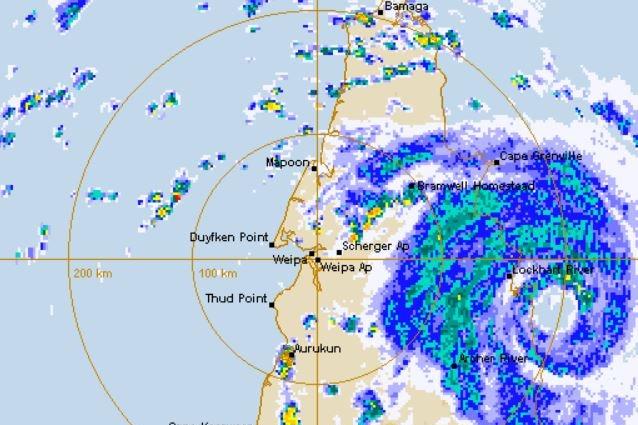 BOM weather radar showing the eye of Tropical Cyclone Trevor crossing the Queensland coast