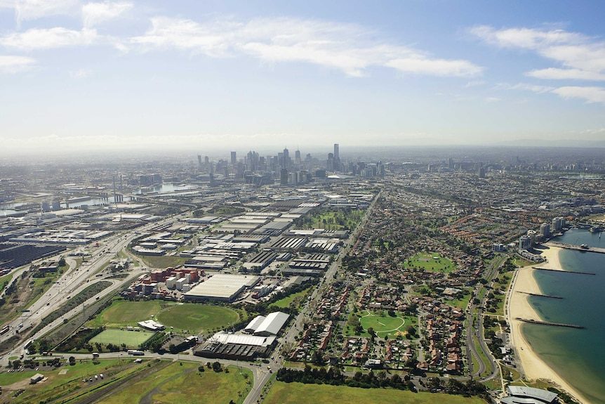 Fishermans Bend area aerial shot skyline