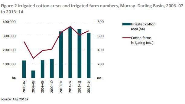 A graph showing the number of cotton farms in the Murray-Darling Basin