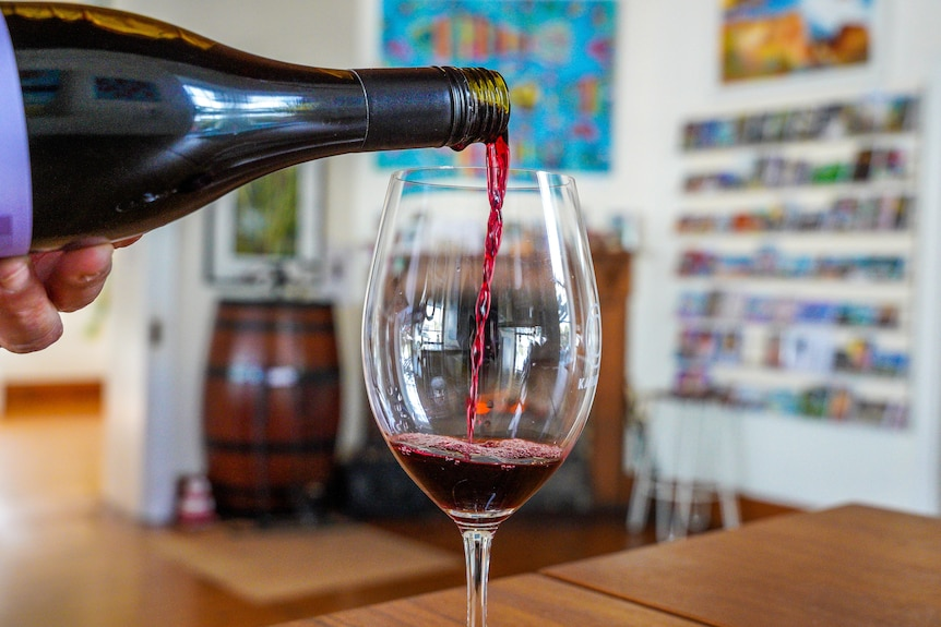 A glass of red wine is poured in a boutique venue.