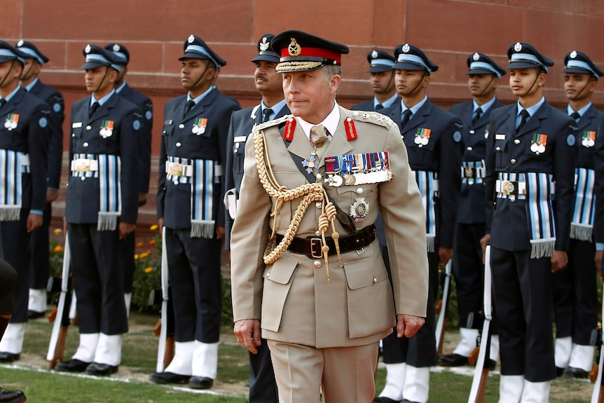 Chief of the General Staff of British Army Sir Nicholas Carter inspects troops in India.