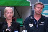 Swimming Australia director Tracy Stockwell and chief executive Alex Baumann at a media conference.