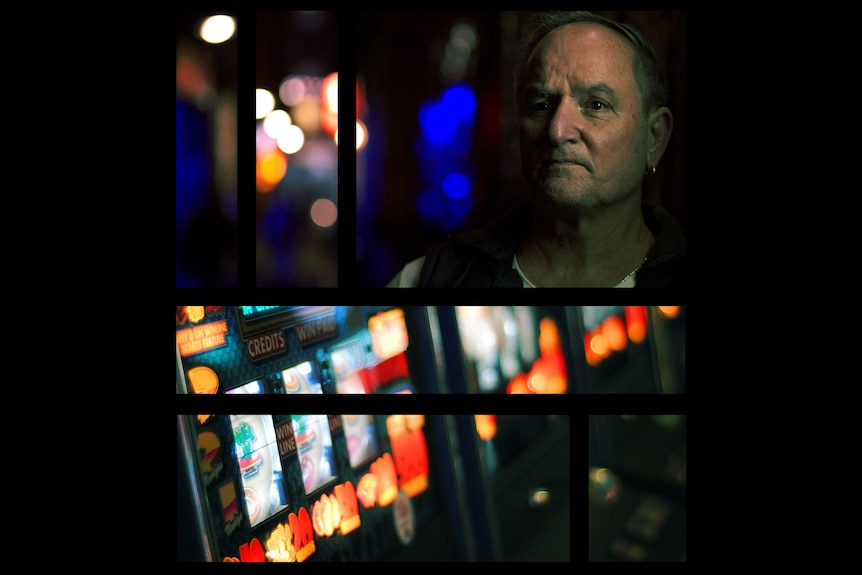 Two images broken into separate spaced-apart rectangles showing Rod in a colourfully lit alley, and poker machines.