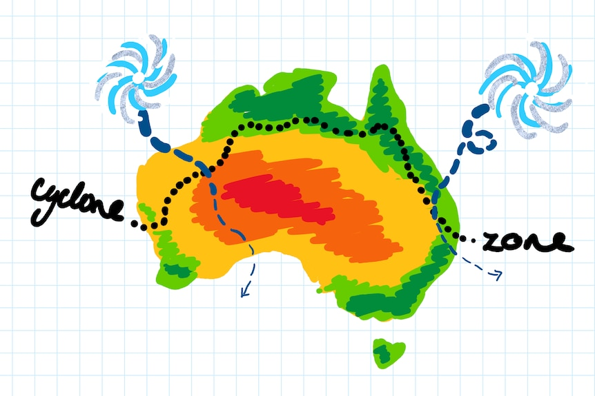 hand drawn picture of Australia with cyclone zone marked roughly along the coast north of Geraldton WA and Bundaberg Qld