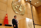 Chinese President Xi Jinping delivers a speech.