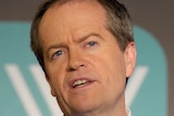 Federal Opposition Leader Bill Shorten addresses an audience at the Wheeler Centre in Melbourne.