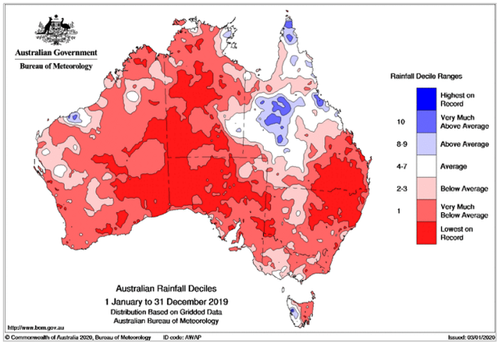 Map of Australia - all red apart from a patch in western QLD, west TAS and around Broom