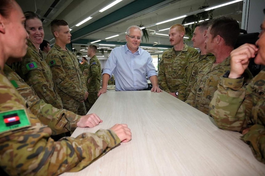 PM Scott Morrison with Defence force members.
