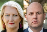A composite image of a blonde woman with red earrings and a bald man in a suit