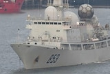 A Chinese AGI spy ship floats in a harbour