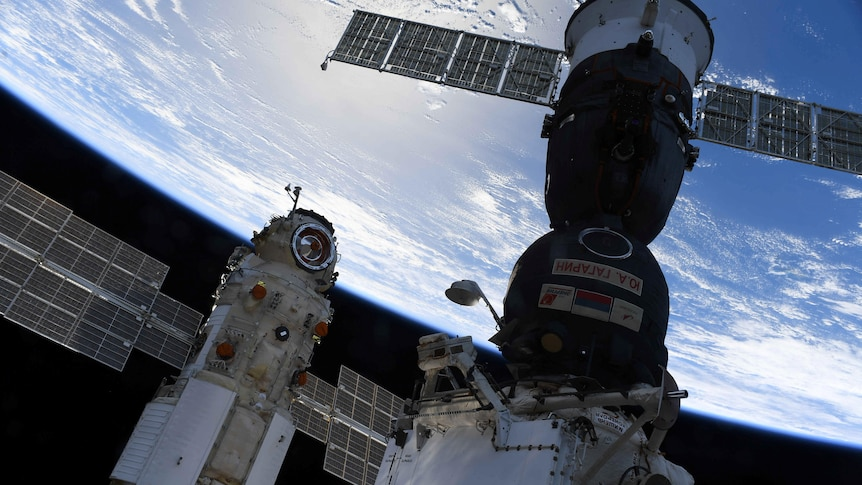 A view of the ISS and Nauka module from inside the space station.