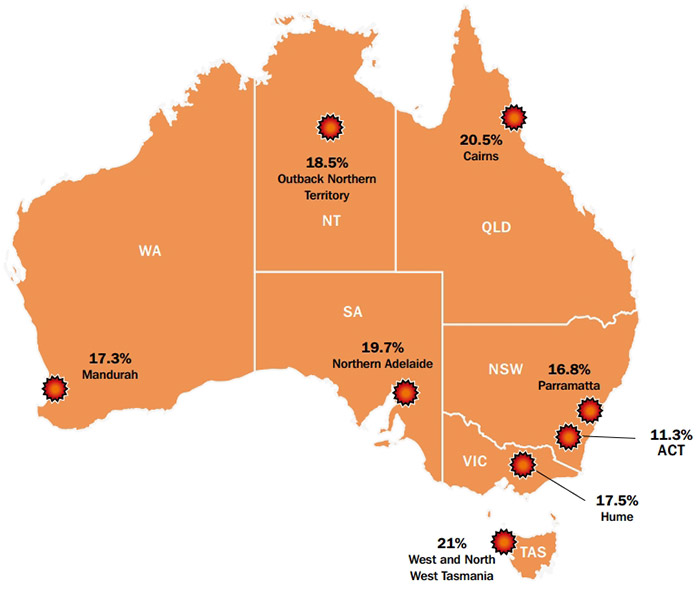 Brotherhood of St Laurence map showing 8 youth unemployment hotspots.