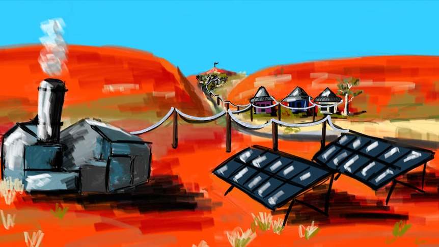 An illustration of a remote microgrid, red dirt, blue skies, a diesel power station, solar panels and houses connected.