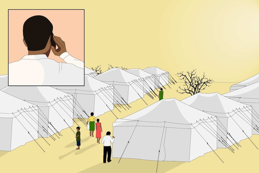 Faheem is on the left of the screen in a pink square box with a refugee camp to the right with a yellow background.