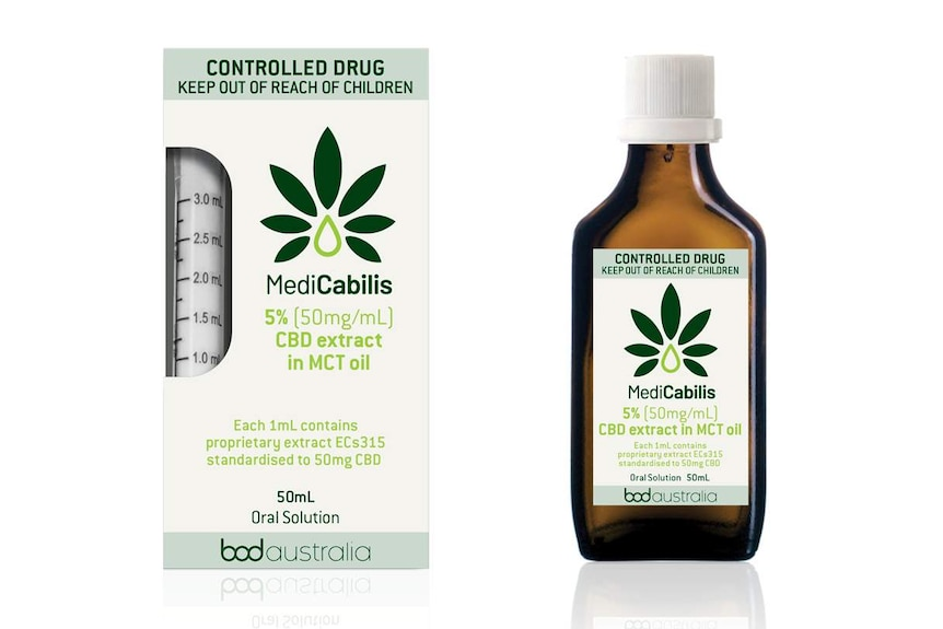 Product bottle and labels of MediCabilis CBD oil.