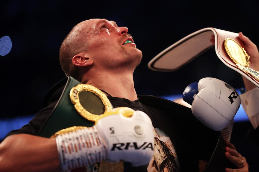 Oleksandr Usyk looks up with his belts