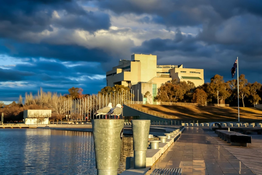 The High Court on the shores of Lake Burley Griffin. There are dark clouds over the building, and a seagull in the foreground.