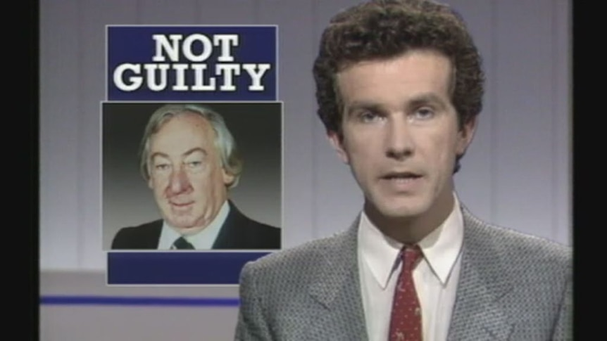 Archival footage shows Lionel Murphy found not guilty