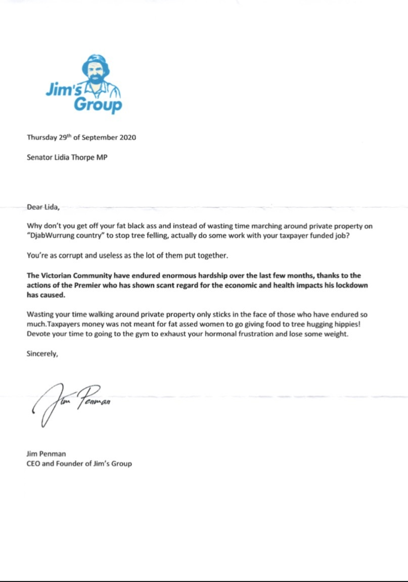 A letter with a Jim's Group letterhead