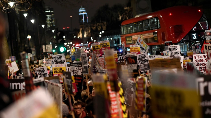 Anti-Trump protests made their way to London, Liverpool and other UK cities. (Photo: Reuters/Dylan Martinez)