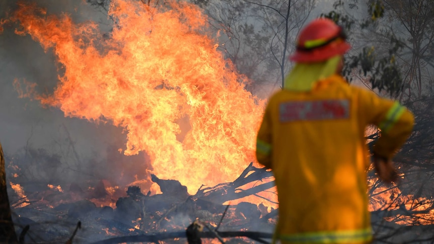 A firefighter in uniform stands in front of a fire in Torrington