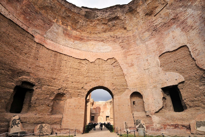 Colour photograph of the Baths of Caracalla ancient ruins in Rome.