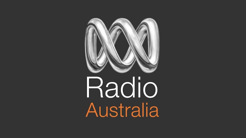 The Radio Australia logo. It is identical to the ABC's lissajous curve logo, but in silver.