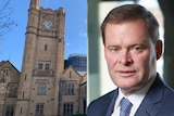 University of Melbourne clock tower alongside a professional portrait of Professor Peter Rathjen.