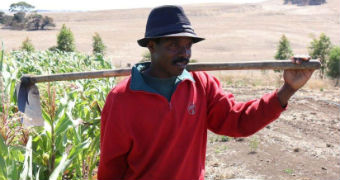 African man stands in a paddock next to a corn crop holding a shovel over his shoulder.