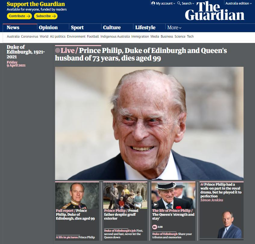 The Guardian website Australian edition after the death of Prince Philip.