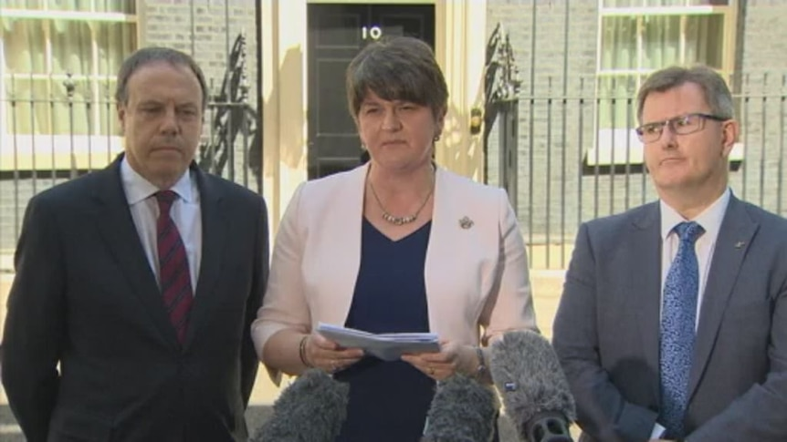 DUP leader Arlene Foster speaks after making deal with Theresa May.