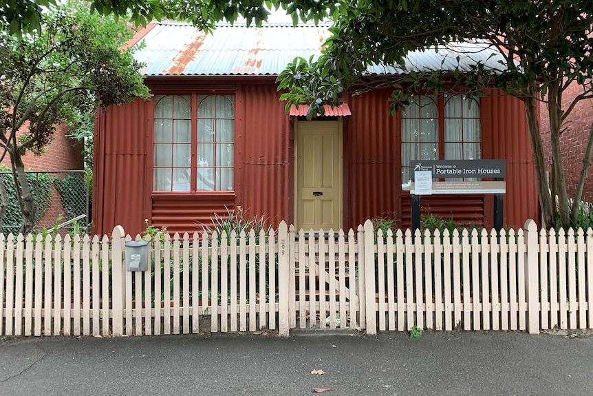 A prefabricated red iron building in South Melbourne that was brought from overseas during the 19th century.