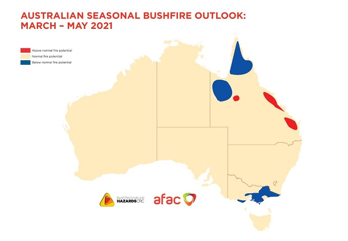 map of Aus showing above average fire potential in parts of Qld but below normal for northern Qld and parts of Vic