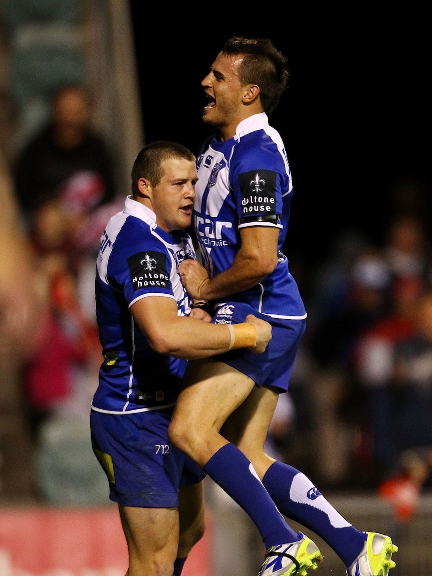 Top Dogs ... Josh Morris and Josh Reynolds both scored pairs for Canterbury.