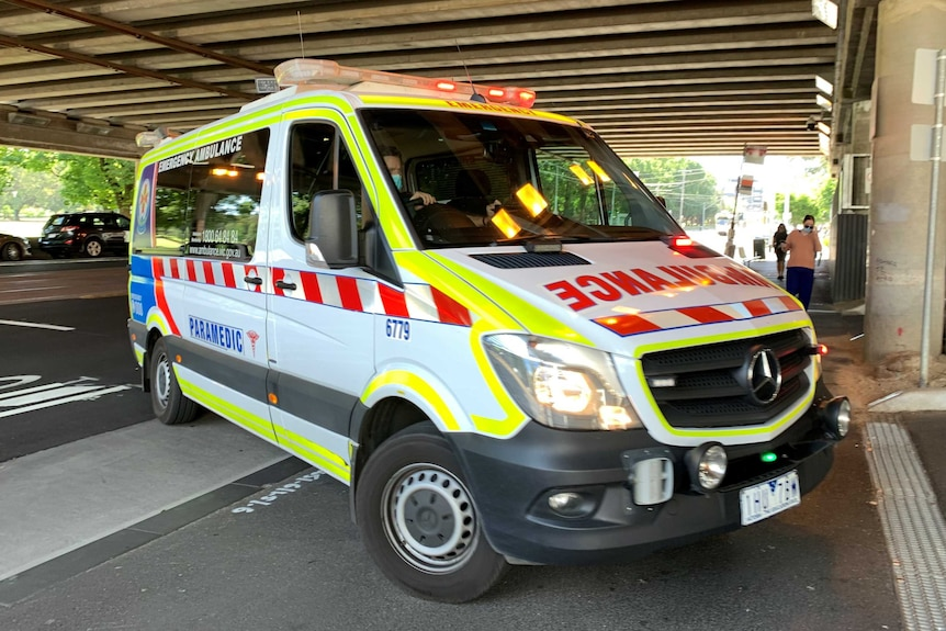 An ambulance parked at the Alfred Hospital in Melbourne.